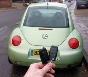 VW Beetle. The car forgot both keys and showed immobiliser issue on the instrument cluster. after reprogramming the immobiliser the car can start and works fine with both keys.