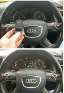 Audi Q5 2012. The customer lost the main key. The spare key wasn't work at all. After the reprogram the spare key the car start and works fine the remote as well.