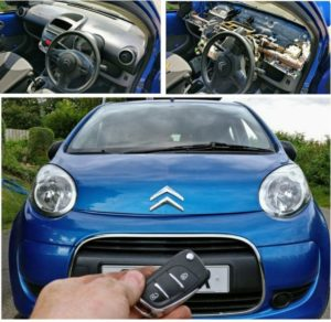 Citroen C1 all keys lost. The immo box is under the dash. Long job do the key but not impossible.