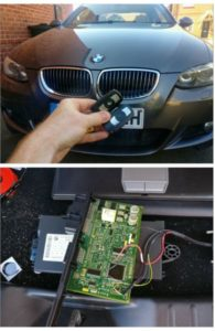 BMW 335D new 3 button key programmed from CAS module and emergency key blade cut.