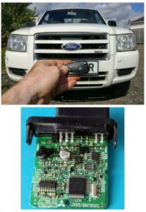 Ford ranger all keys lost. Key cut from ignition lock, Immobiliser programmed from immo-box.