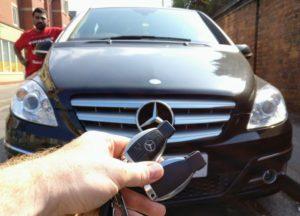 Mercedes B-class new 3 button key programmed and emergency key blade cut.