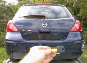 Nissan Tiida import car, new transponder key cut and programmed.