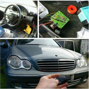 Mercedes lost all keys. New 3 button key programmed and emergency key blade cut.
