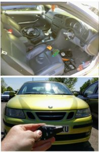 Saab 9-3 lost all keys. The imobiliser box is under the steering wheel. Not difficult job just long.